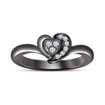 925 Sterling Silver Black Gold Finish Round Cut Diamond Heart Style Wedding Ring - $59.80
