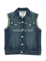 True Religion Mens Blue Cut-off Denim Jean Distressed Trucker Biker Vest... - $112.10