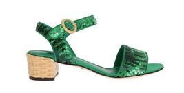 Dolce & Gabbana Green Sequined Sandal Shoes - $351.41