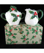 Lefton 6062 White Holly Christmas holiday sugar creamer set 1972/73 Japan - $18.89