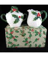 Lefton 6062 White Holly Christmas holiday sugar creamer set 1972/73 Japan - $18.89