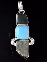 Halloween Jewelry Aventurine-Simulated Opal-Jasper 925 Sterling Silver P... - $5.93