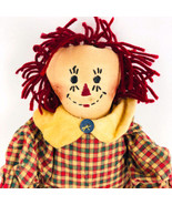 Raggedy Ann Doll Handmade Primitive Plush Stuffed Animal Plaid Dress  Vi... - $29.69