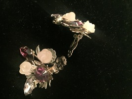 Vintage Hope Chest purple cluster gems brooch and clip on earrings set image 6
