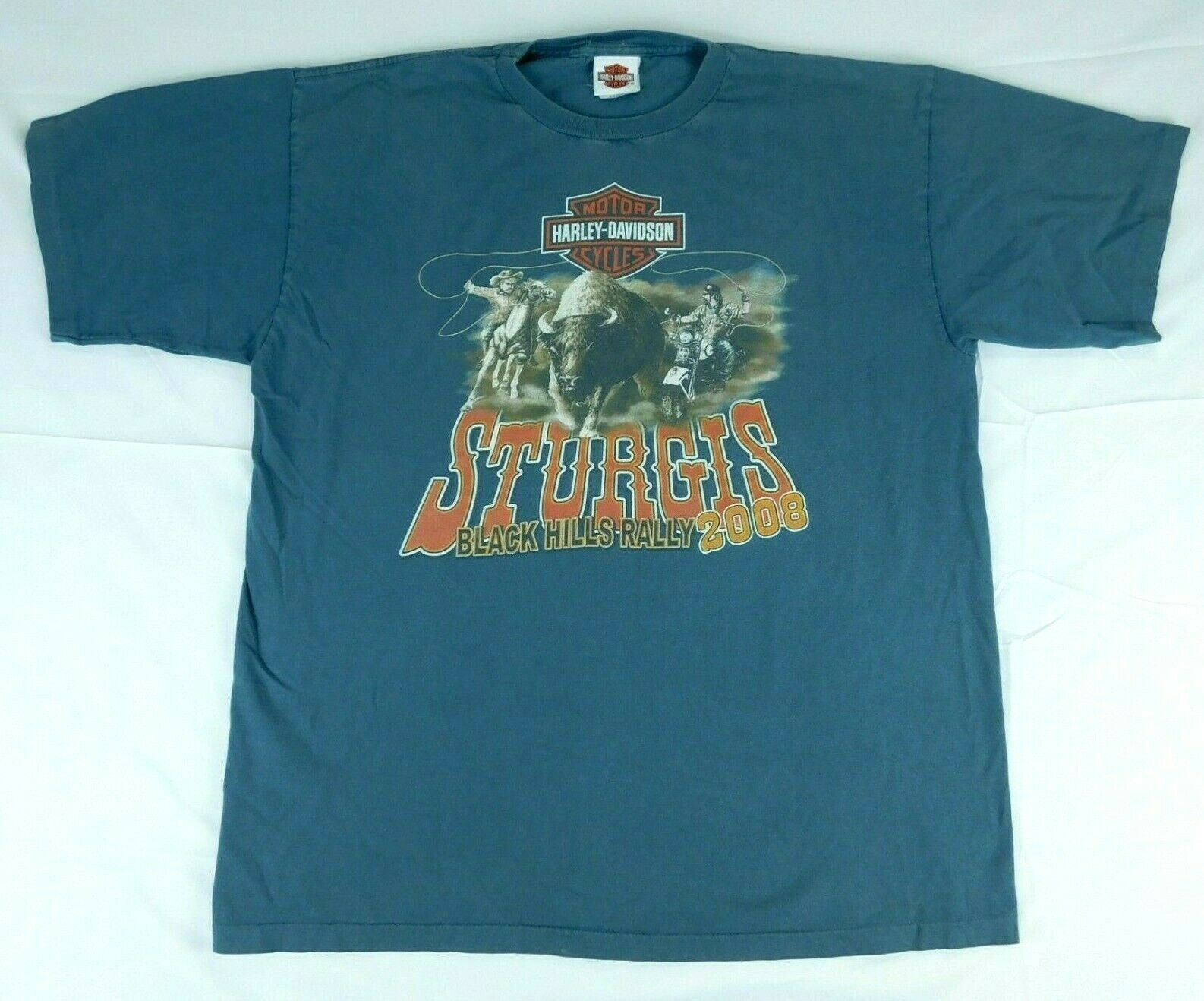 Harley Davidson Sturgis Black Hills Rally 2008 Buffalo Chip Blue T Shirt Sz XL image 3