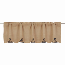 BURLAP NATURAL Valance w/Black Check - 16x60 - Country Farmhouse - VHC Brands
