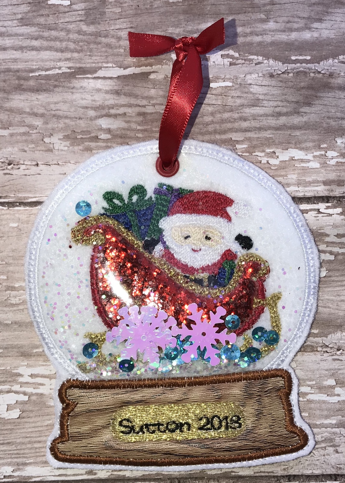 Primary image for Personalized Santa Sleigh snow Globe style ornament