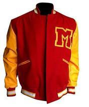 M Logo Letterman Michael Thriller Red & Yellow Jackson Bomber Varsity Jacket image 1