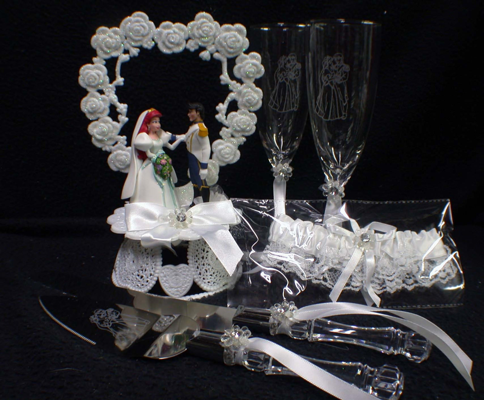 $99 Special Disney Little Mermaid Wedding Lot Cake Topper Glasses,