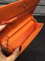 100% AUTH CHANEL Boy WOC Quilted Patent Leather Orange Wallet on Chain Flap Bag  image 5