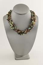"21"" VINTAGE Jewelry TURQUOISE TIGER EYE & UNAKTE GEMSTONE NUGGET NECKLACE  - $35.00"