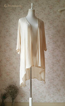 Summer Tencel Linen Open Blouse Loose Long Crop Sleeve Cover Up Plus Size NWT image 2