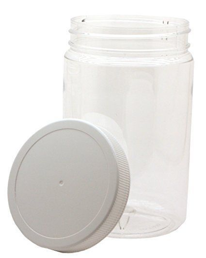 4 Pack 32oz Clear Round Wide Mouth PET Plastic Bottle Jars W/ Caps 967ml