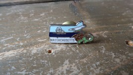 Vintage Enamel State Massachusetts Hat Lapel Pin 2.2cm - $17.82