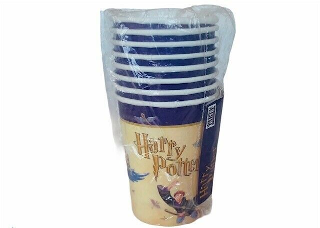 Harry Potter Birthday Party Favors Wizard Cups 8 goblets tazas Quidditch brooms - $19.30