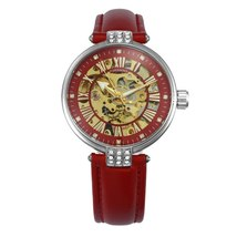 FORSINING Vintage Elegant Women Watch Automatic Mechanical Red Leather Strap Gol image 4