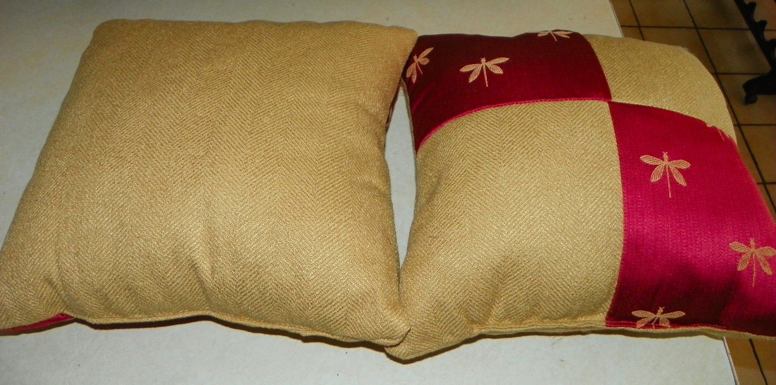 Pair of Gold Persimmon Dragonfly Print Throw Pillows 20 x 20