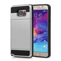 Gray Hybrid Case for Samsung Galaxy Note5 - Credit Card Slot Holder USA image 1