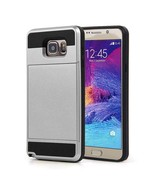 Gray Hybrid Case for Samsung Galaxy Note5 - Credit Card Slot Holder USA - $8.98