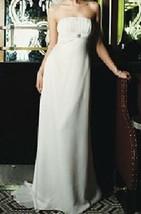 David's Bridal Wedding Gown Sz 2 Ivory Strapless Satin Sheath Train Stun... - $74.25