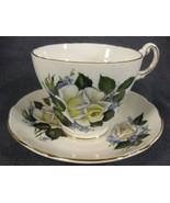 Regency Bone China Tea Cup & Saucer Set Yellow White Roses Purple Flowers  - $17.95