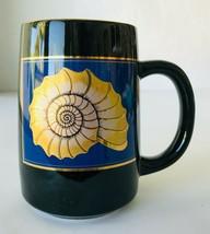 Otagiri Japan Sea Shell Nautilus Coffee Mug Cup in Black Blue Gold Beach Ocean - $14.50