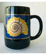 Otagiri Japan Sea Shell Nautilus Coffee Mug Cup in Black Blue Gold Beach... - $14.50