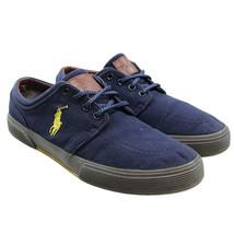 POLO Ralph Lauren Mens Sz 9.5 Navy Faxon Low Rubber Fashion Sneakers Pon... - $18.80