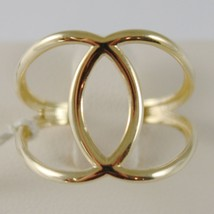 SOLID 18K YELLOW GOLD BAND DOUBLE HUG WIRES RING LUMINOUS SMOOTH, MADE IN ITALY image 1