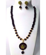 2 Side Floral Pendant Classy Necklace Earring Chain Jewelry Tribal Chic ... - $9.89