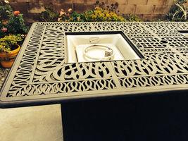 Fire pit propane bar table set 7 piece outdoor cast aluminum Palm Tree bar stool image 8