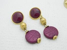 Asian Inspired Purple Gold Tone Dangle Post Earrings 1980's - $19.80