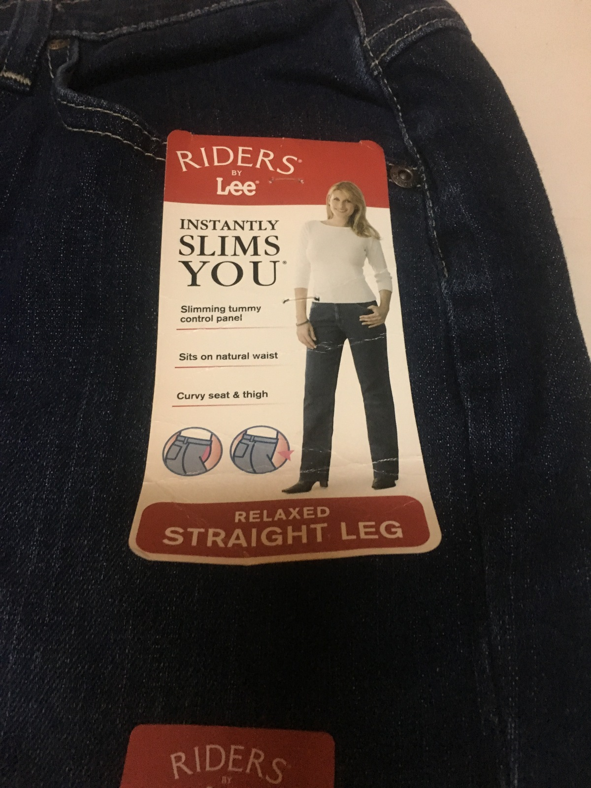 Lee Riders Blue Jeans Relaxed Straight Leg Slimming 18M