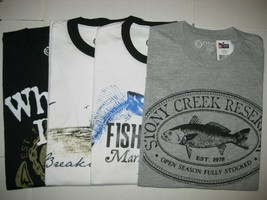 NWT Men's Chaps Cotton T-Shirt Fish / Marina Print - Pick Your Style and Size - $11.75+