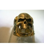 BIKER SKULL HEAD RING IN YELLOW GOLD TONE BRASS & BRUSHED FINISH IN ALL ... - $23.33