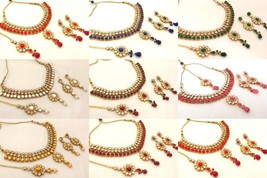 Indian Bollywood Style Fashion Gold Plated Colored Bridal Jewelry Necklace Set 1 - $17.99