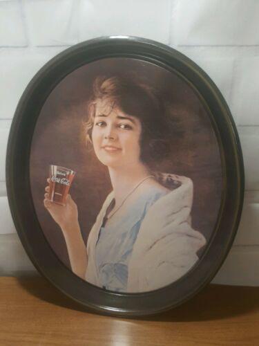 "Repro Retro Roaring 20s Flapper Girl Drink Coca-Cola Oval 15"" Metal Serving Tray"