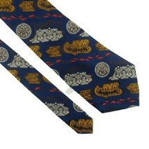 A Classic Design Blue Gold Silver Wide Vintage Polyester 1970s Mens Neck... - $14.99