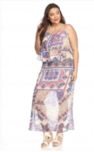New Directions 3X Printed Popover Polyester Chiffon Fabric Maxi Dress  m... - $21.49
