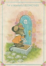 Vintage Mother's Day Card Dressed Mouse at Door Godmother Hallmark 1960's - $5.93