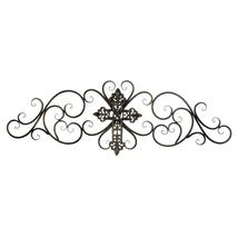 Black Iron Cross Scrollwork Wall Plaque - $59.95