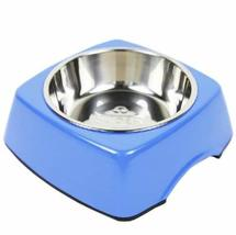 Pet Bowl Dogs/Cats Bowl with Stainless Steel Eating Surface Blue, Medium