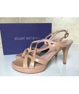 Stuart Weitzman Axis Adobe Aniline Patent Leather Platform Heels Sandals... - $143.43