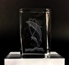 Dolphin Paperweight Heart Crystal Glass 3D Laser Etched Jumping Christma... - $22.69