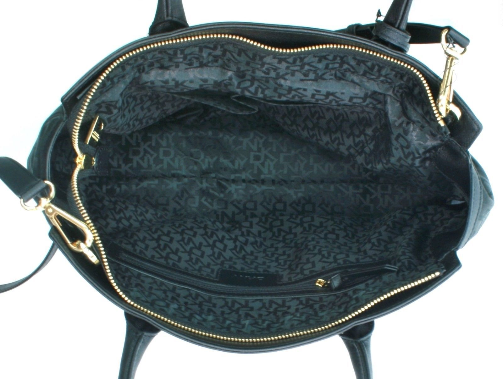 DKNY Donna Karan Black Leather PVC Heritage Tote Cross Body Bag Handbag RRP £275