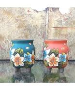 Set of 2 Hand Carved & Painted Ceramic Pot Flower Vase Planter Gift for ... - $24.95+