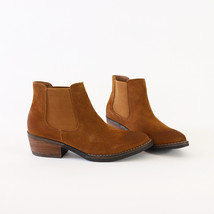 victor-01 camel genuine cow suede chelsea boots booties - $46.95