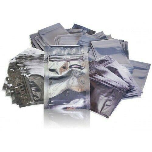 50 Pack 1/4oz Gloss Silver Barrier Bags Smell Proof Zipper Resealable FRESH HERB - $8.99