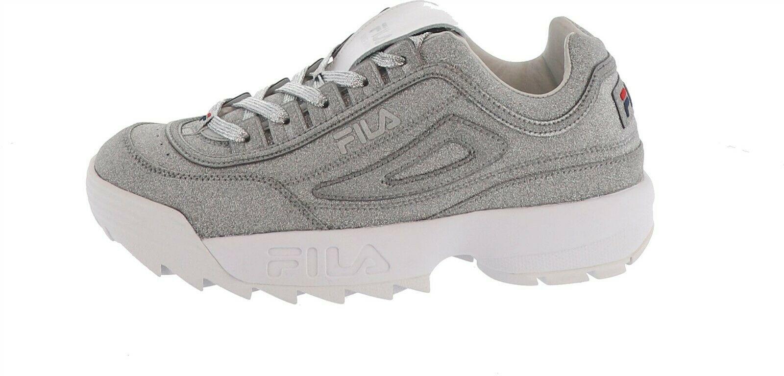 FILA Sparkle Platform Chunky Sneaker Disruptor Metallic Silver 8.5M NEW S9461 - $76.21