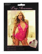 NEW LEG AVENUE WOMEN'S PREMIUM SEXY STRETCH LACE V HALTER TEDDY PINK 81375 image 3